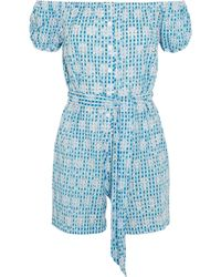 Miguelina Woman Off-the-shoulder Broderie Anglaise Gingham Cotton Playsuit Azure - Blue