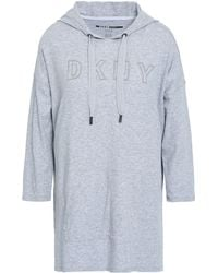 DKNY Embroidered Mélange Stretch Cotton And Modal-blend Hooded Sweatshirt Light Grey - Gray