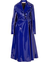 Marni Faux Patent-leather Trench Coat Royal Blue
