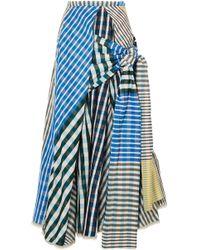Marni Printed Knotted Taffeta Midi Skirt Multicolour - Blue