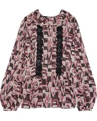 Giambattista Valli Crochet-trimmed Ruffled Printed Silk-georgette Blouse Baby Pink