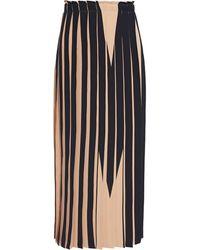 MM6 by Maison Martin Margiela Pleated Neon Printed Cady Midi Skirt - Black