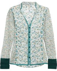 Talitha - Floral-print Embroidered Cotton And Silk-blend Gauze Shirt - Lyst