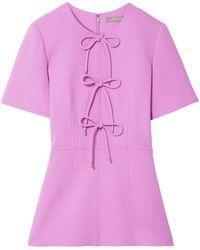 Lela Rose - Bow-detailed Wool-blend Crepe Peplum Top Lavender - Lyst