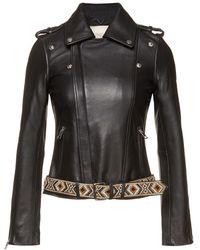 Maje Embellished Leather Jacket Black
