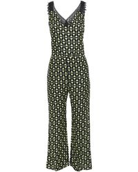 Adriana Degreas Guipure Lace-trimmed Printed Satin Jumpsuit - Black