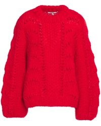 Ganni Julliard Open-knit Mohair And Wool-blend Sweater Red
