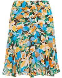 M Missoni Gathered Printed Crepe Mini Skirt - Blue