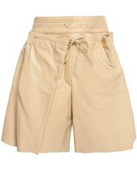 JOSEPH Layered Leather Shorts Beige - Natural