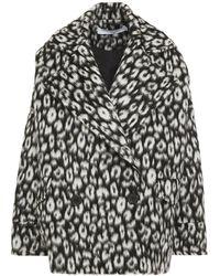 IRO Double-breasted Leopard-print Brushed Wool-felt Coat Animal Print - Multicolour