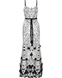 Marchesa notte Embellished Embroidered Tulle Gown Ivory - White