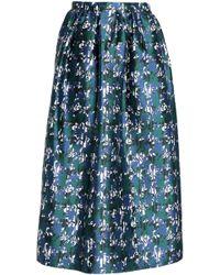 Oscar de la Renta - Gathered Silk-jacquard Midi Skirt - Lyst