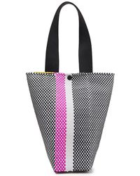 Truss Le Sac Leather-trimmed Striped Raffia-effect Woven Shoulder Bag Yellow