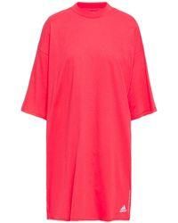 adidas Striped Cotton-jersey Mini Dress Papaya - Pink