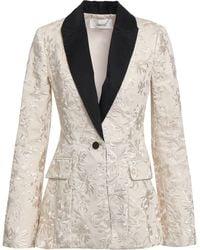 Zimmermann - Maples Button-detailed Embroidered Cotton Blazer Ecru - Lyst