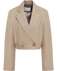 REMAIN Birger Christensen Debbie Double-breasted Cropped Leather Blazer - Natural