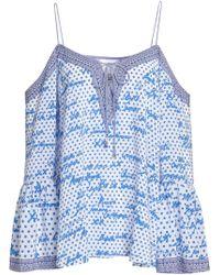 Camilla Cold-shoulder Crystal-embellished Printed Silk Crepe De Chine Top Blue