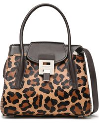 Michael Kors Bancroft Jacquard-paneled Leather-trimmed Printed Calf Hair Shoulder Bag Animal Print - Multicolour