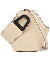 Danse Lente Johnny Croc-effect Patent-leather Bucket Bag Beige - Natural