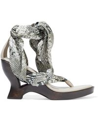 Zimmermann Snake-print Satin-twill And Leather Wedge Sandals Grey Green
