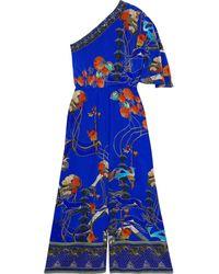 Camilla Bedruckter Jumpsuit Aus Crêpe De Chine Aus Seide Mit Asymmetrischer Schulterpartie Und Kristallverzierung - Blau