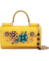 Dolce & Gabbana Embellished Lizard-effect Leather Iphone Case Yellow