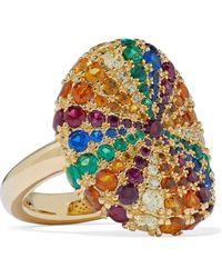 Noir Jewelry Lollipop 14-karat Gold-plated Crystal Ring Gold - Metallic