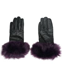 Surell - Woman Faux Fur-trimmed Leather Gloves Purple - Lyst