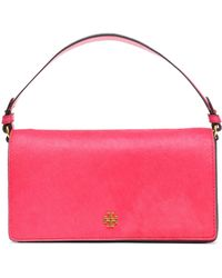 Tory Burch Suede And Calf Hair Shoulder Bag Fuchsia - Pink