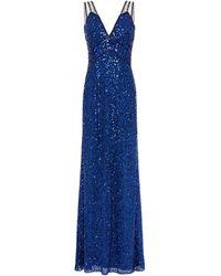 Jenny Packham Tulle-paneled Embellished Chiffon Gown Royal Blue