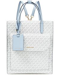 MICHAEL Michael Kors Logo-print Faux Leather Backpack Sky Blue