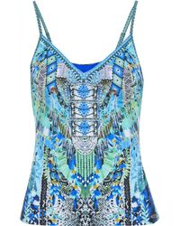 Camilla Leave Me Wild Crystal-embellished Printed Tankini Top Turquoise - Blue