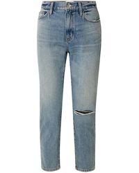 Current/Elliott The Vintage Cropped Distressed High-rise Slim-leg Jeans - Blue