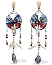 Valentino - Gold-tone, Feather, Bead And Crystal Earrings - Lyst