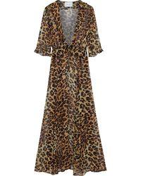 We Are Leone Ruby Ruffle Leopard-print Silk-chiffon Kimono Animal Print - Brown