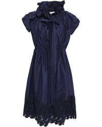 Lanvin Bow-detailed Broderie Anglaise Cotton And Silk-blend Dress Midnight Blue