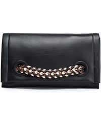 Roberto Cavalli - Chain-trimmed Leather Clutch - Lyst