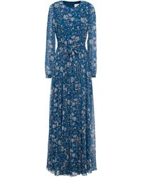 Mikael Aghal Gathered Belted Floral-print Chiffon Maxi Dress - Blue