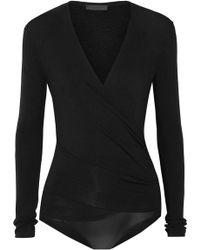 Donna Karan - Wrap-effect Stretch-jersey Bodysuit - Lyst