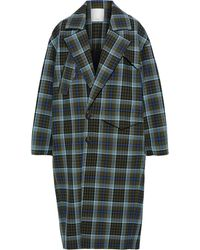 Tibi Spencer Double-breasted Checked Woven Coat Army Green