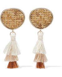 Kenneth Jay Lane - Gold-tone, Straw And Tassel Earrings - Lyst