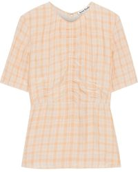 Acne Studios Taty Ruched Gingham Shell Peplum Top - Multicolour