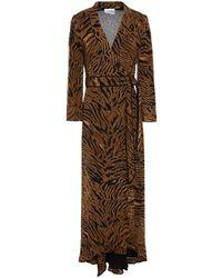 Ganni Asymmetrisches Wickelkleid Aus Georgette Mit Print Animal-print Größe 36 - Brown
