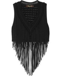 Roberto Cavalli Cropped Fringed Jersey Top - Black