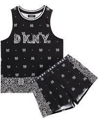 DKNY Vintage Fresh Embroidered Printed Cotton-blend Jersey Pyjama Set - Black