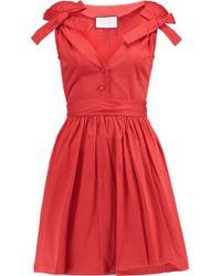 Alexis - Kelsi Bow-embellished Cotton-blend Mini Dress - Lyst