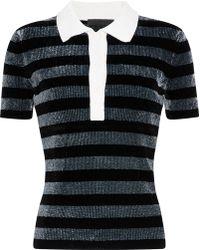 Alexander Wang - Woman Metallic Striped Chenille Polo Shirt Black - Lyst