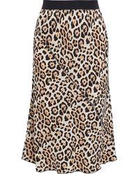ATM Leopard-print Silk-charmeuse Skirt Animal Print - Black