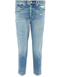 AMO - Distressed High-rise Slim-leg Jeans - Lyst