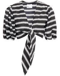 Lisa Marie Fernandez Cropped Tie-front Striped Twill Top - Black